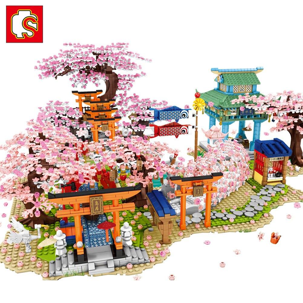سيمبو ساكورا كتل الخالق مدينة زهر الكرز شارع صغير عرض اليابانية ساكورا منزل شجرة نموذج اللبنات ألعاب أطفال