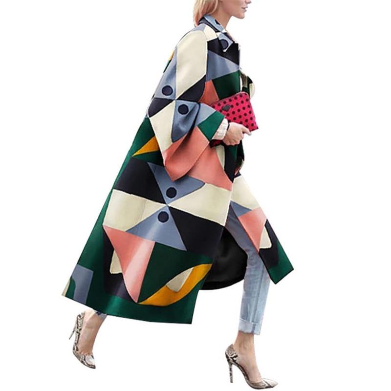 Autumn Winter Trench Coat For Women Fashion Geometric Print Color Female Casual Long Cardigan Coat Turn-Down Collar Outwear