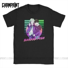 T-Shirts homme banane poisson drôle pur coton t-shirt manches courtes Ash Eiji Anime Manga T-Shirts col rond hauts 6XL