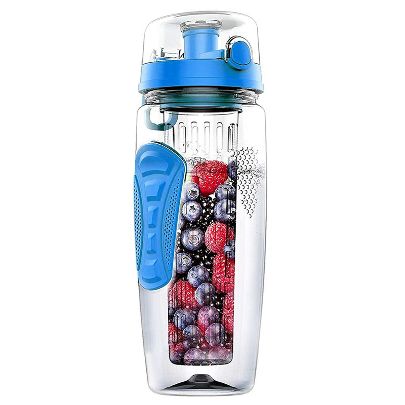 1000ml/32oz infusión de frutas botella de agua plástico deportes desintoxicación salud azul