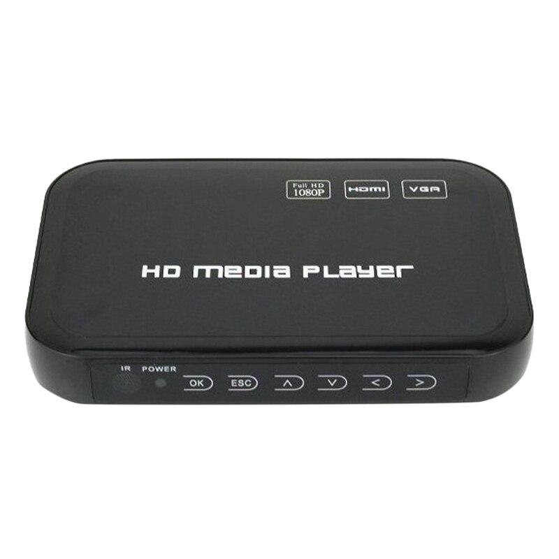 Reproductor multimedia Full HD de 1080P HDMI + VGA + AV + USB + SD HDD con H.264, MKV, di15 HD, MPEG 2-TS, VC-1, WMV9 con enchufe europeo