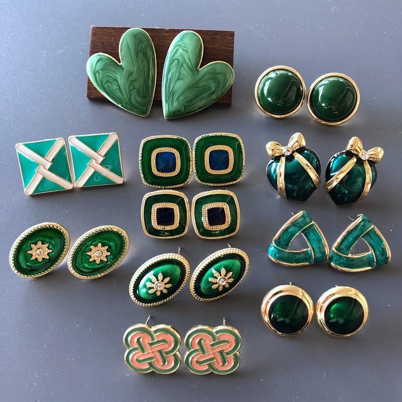 Vintage Palace Green Enamel Drip Glaze Geometric Round Square Heart Stud Earrings Fashion Elegant Re