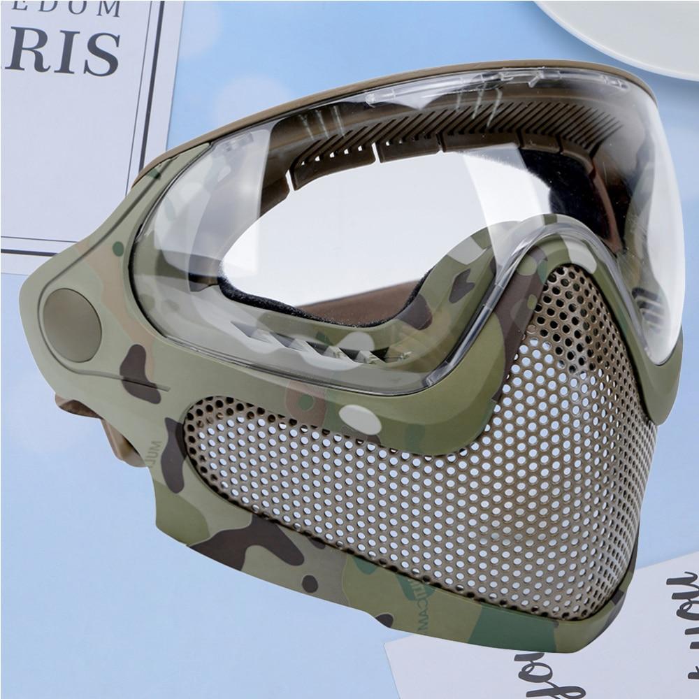 1 unidad de máscara de combate de modo Dual máscara de juego al aire libre engranaje protector de pantalla de acero máscara para hombre mujer camuflaje