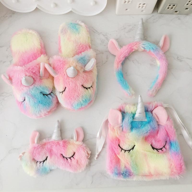 4PCS Lovely Girl Heart Ice Cream Unicorn Dress Up Toy Set Hair Hoop Eye Patch Bundle Pocket Plush Home Cotton Slippers