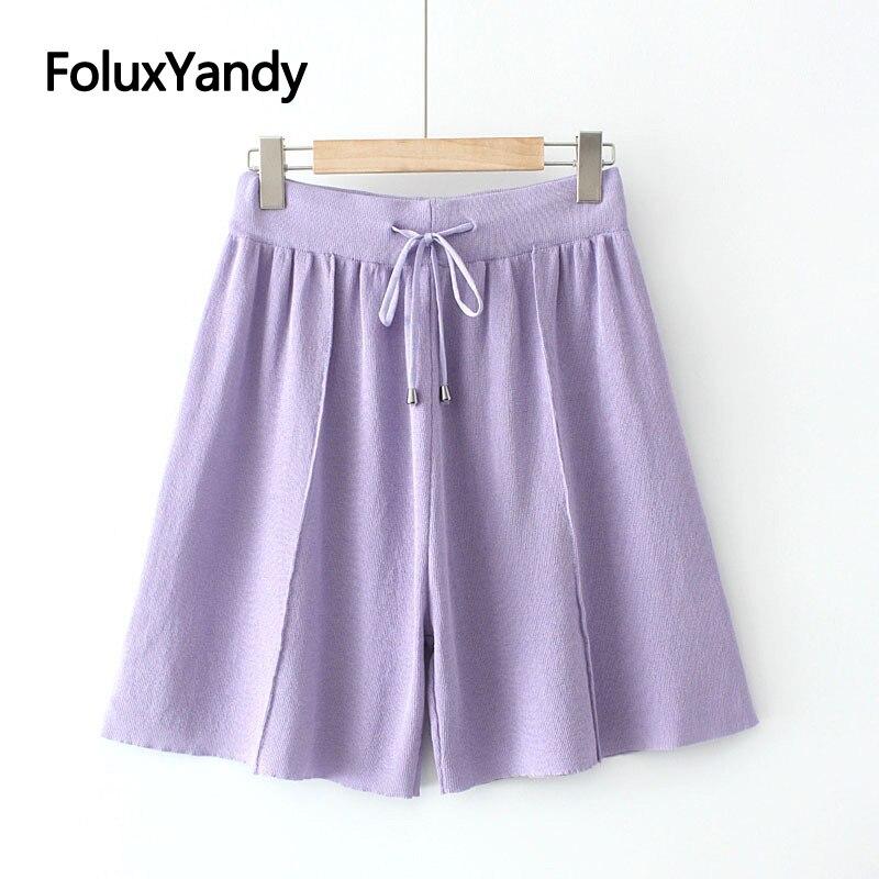 Шорты женские с завышенной талией, повседневные трикотажные свободные летние шорты, цвет черный/фиолетовый, размеры XXXL/4XL, KKFY5555