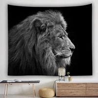 yaapeet polyester dark lion printed wall tapestry tiger pattern hanging tapestry retro fashion animal wall protection decoration