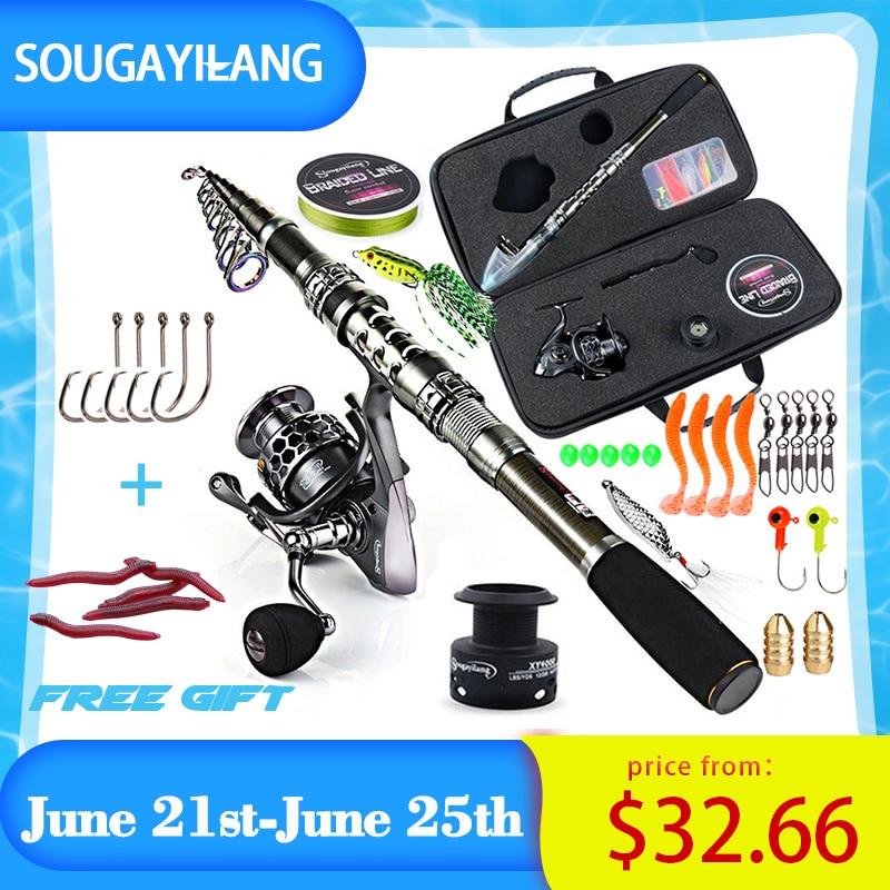 AliExpress - Sougayilang Fishing Rod and Reel Combo Telescopic Fishing Rod Spinning Reel with Free Spool Fishing Hooks Lure Line Bag Full Kit