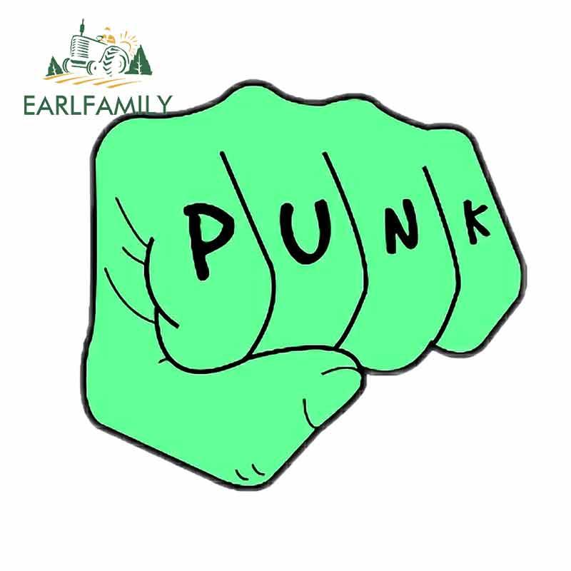 EARLFAMILY 13cm x 11,9 cm para puño verde Punk motocicleta pegatinas de coche protector de puerta de coche pegatina de reparación DIY oclusion Scratch