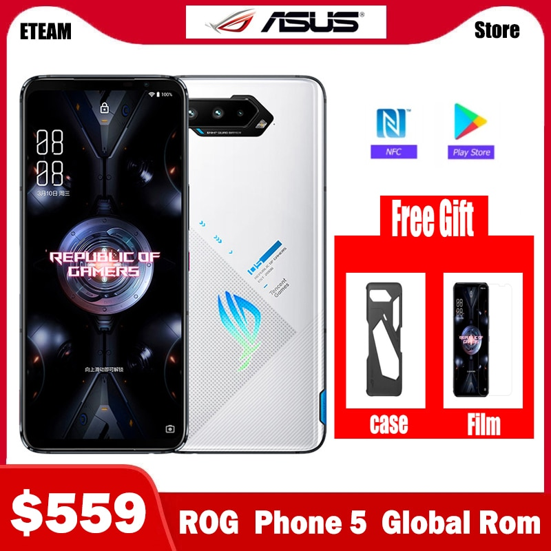 Original ASUS ROG 5 5G Gaming Smartphone 16GB 256GB Snapdragon888 Android 11 Mobil phone 6000Mah Battery 65W Fast charger