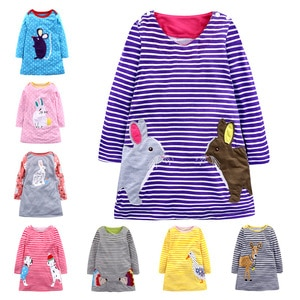 2020 spring and autumn dress for girls children cartoon animal embroidery  dress  children's Long sleeve dress 1-7 years old