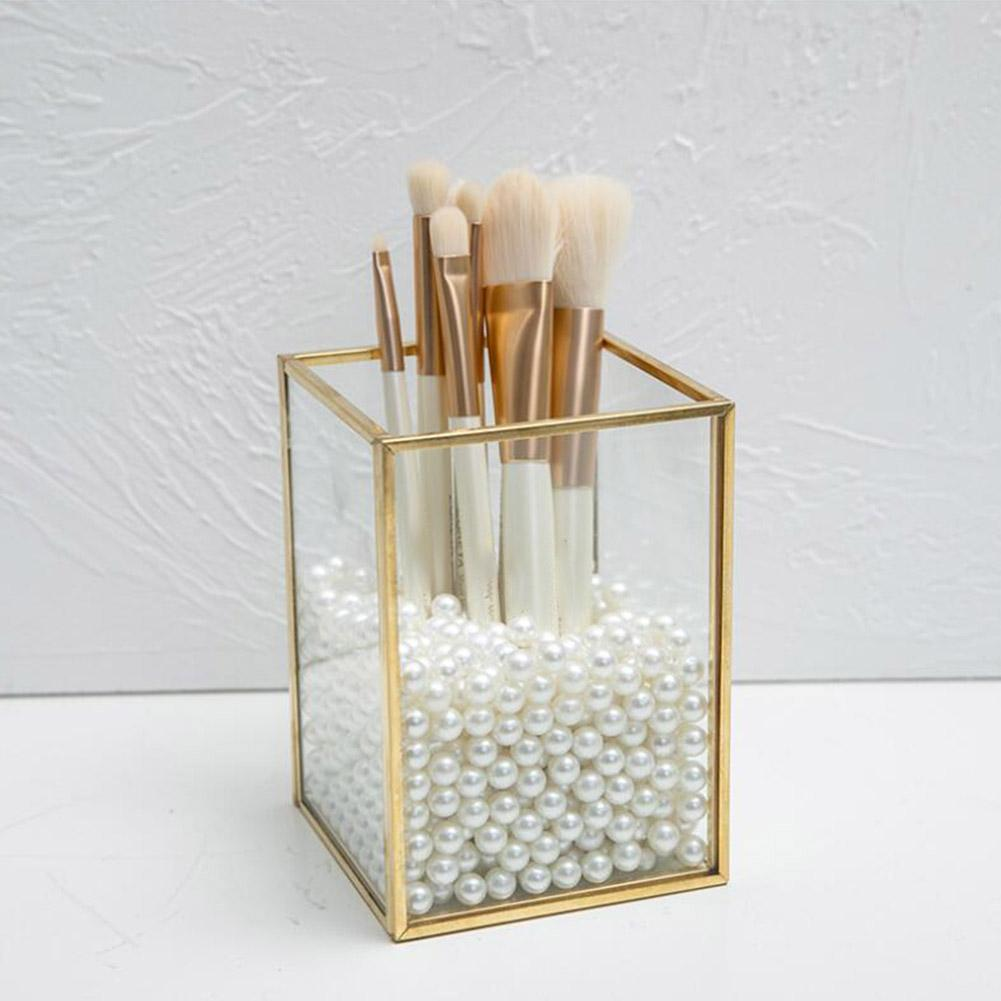 Nórdico ouro grade de vidro flip tanque de armazenamento caixa de luxo moderno cosméticos recipiente de armazenamento micro-paisagem flor quarto recipiente