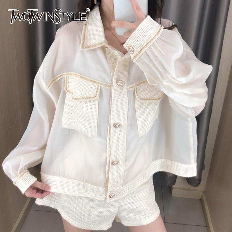 Twotwinstyle perspectiva retalhos tweed camisas femininas lapela gola manga longa bolso coreano camisa blusa feminina 2020 moda