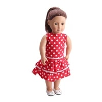 18 inch girls doll clothes fashionable red dot dress american newborn skirt baby toys fit 43 cm baby dolls c58