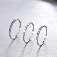 fresh and elegant net red row diamond ring s925 silver ring female fashion ring tail ring silver jewelry