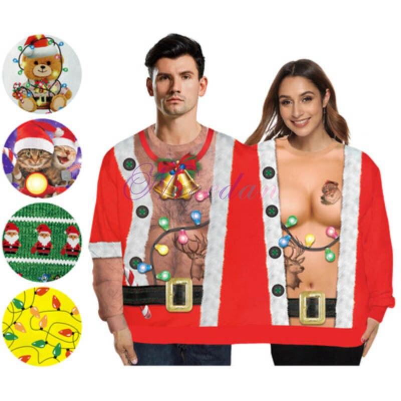 Рождественский свитер двухъярусная пуловер женскую одежду толстовка 3D печатных забавные Свитшот Ugly костюм Рождественский подарок