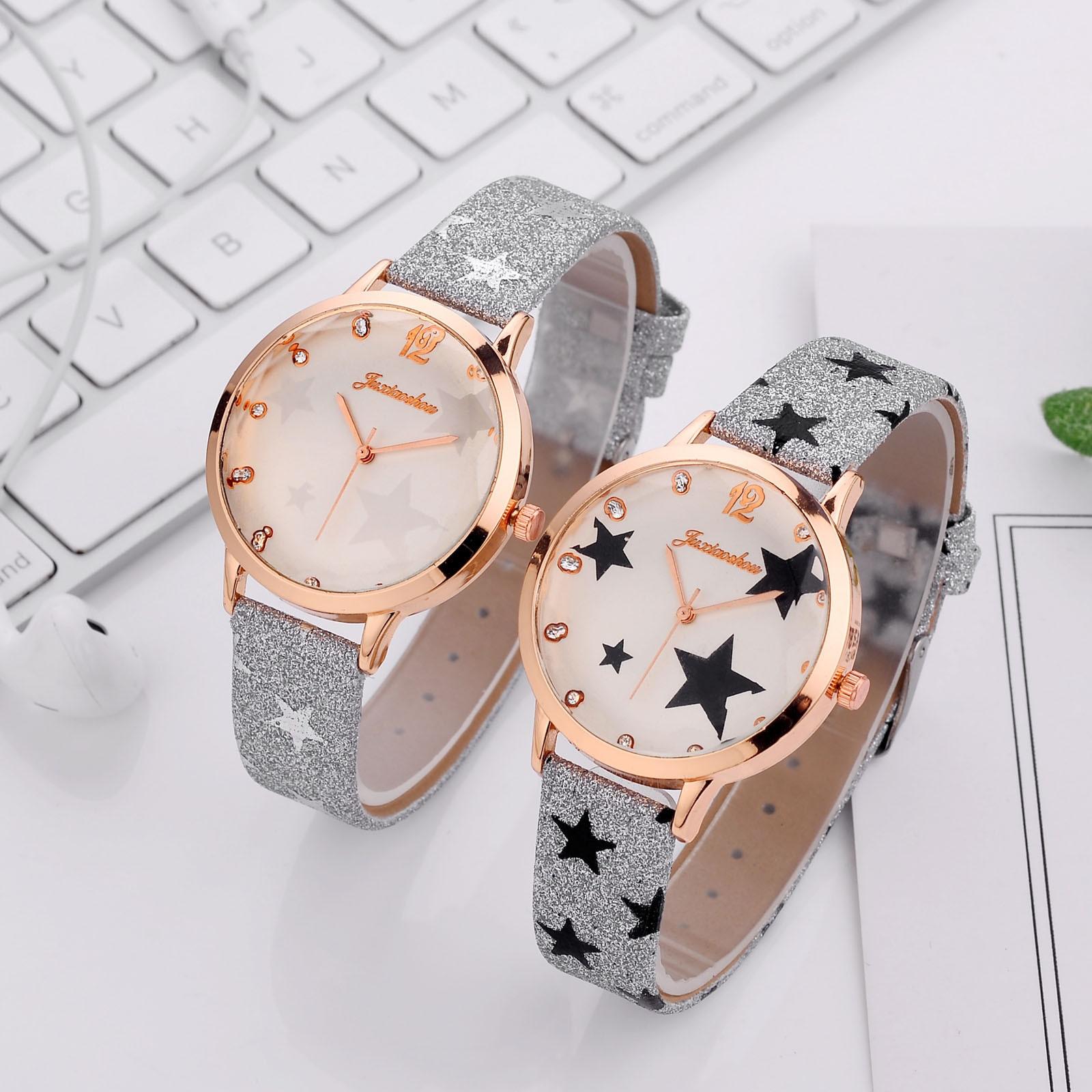 Ladies Quartz Watch Pentagram Printing Leather Strap Rotating Watch Часы Женские Нару