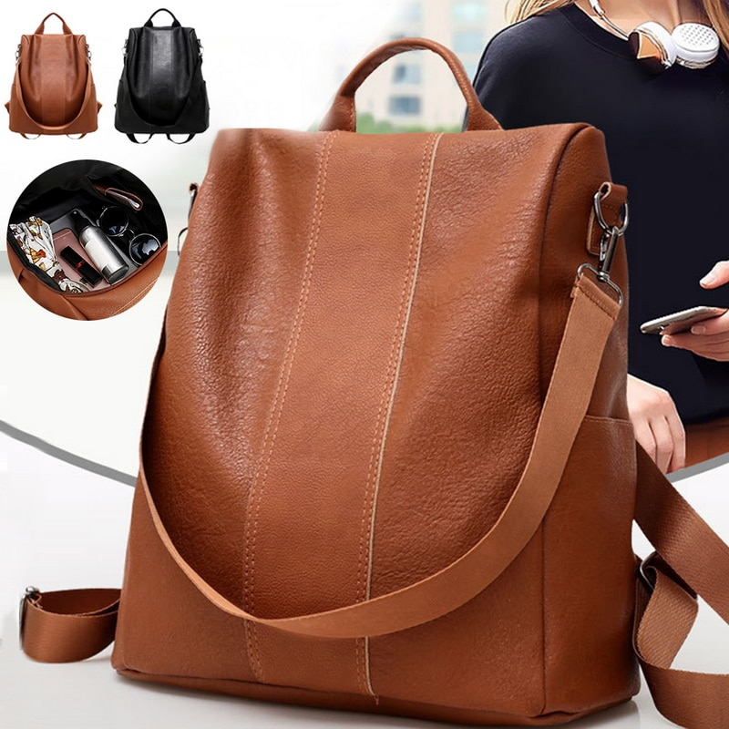 Кожаный рюкзак с защитой от кражи, Женский вместительный дорожный рюкзак, школьные сумки для девочек, женский рюкзак
