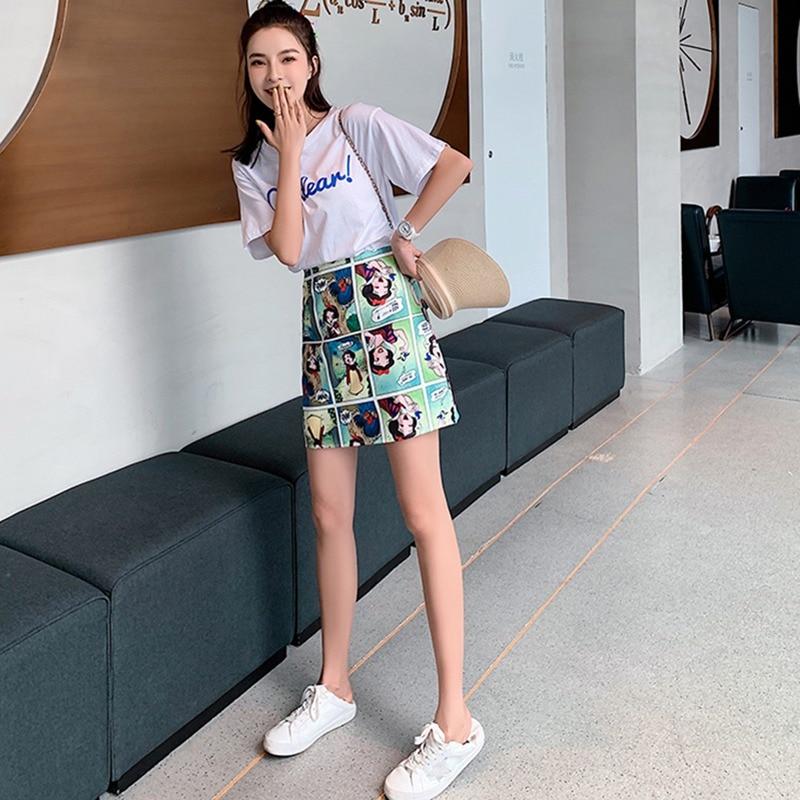 Korean Style Skirts Retro Comic Print High Waist Wild A Line Skirt Fashion Women Bag Hip Mini Skirt