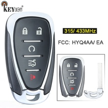 KEYECU 315/433MHz ID46 Chip HYQ4AA HYQ4EA Smart 5 botón remoto clave llavero con mando a distancia para Chevrolet Camaro Equinox Cruze Malibú chispa 2016-19