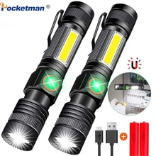 T6 With COB Sidelight LED Torch Led flashlight Hike Magnetic Zoomable 3 Modes waterproof Use 18650 Support for Mircro charging