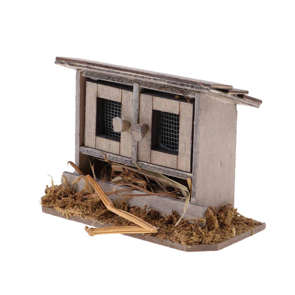 112 Schaal Miniatuur Poppenhuis Diy Mini Fairy Tuin Houten Kippenhok