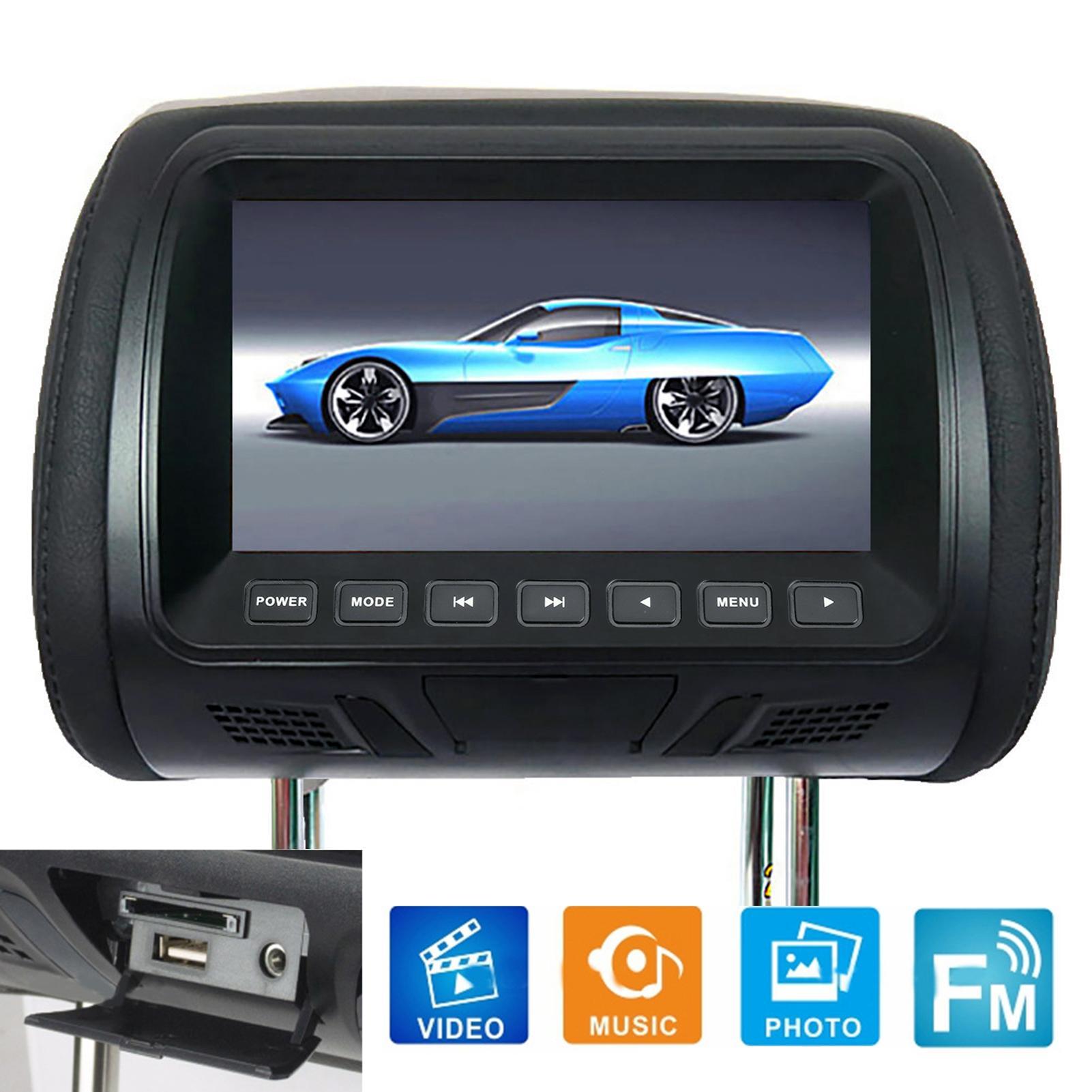 Автомобильный ЖК-монитор на подголовник, 7 дюймов, 12 в пост. Тока, с пультом дистанционного управления