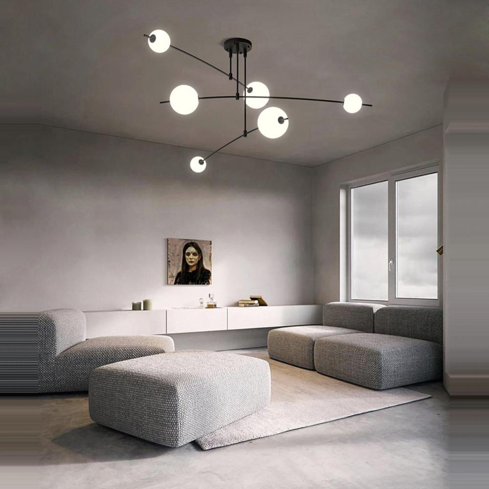 LED ما بعد الحداثة الزجاج فقاعة أبيض أسود مصمم بريق أضواء الثريا تعليق الإنارة Lampen للبهو