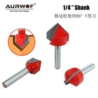 7pcs 6 35mm 14 inch shank 90 degree v type router bit edge forming bevel woodworking milling cutter for wood bits mc01121