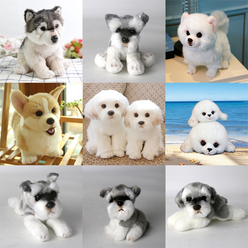 Perro lindo de felpa juguete Bichon/Wolf/Schnauzer/Pomeranian/Corgi/Seals peluche simulación de cachorro de peluche muñeco para regalar para niños