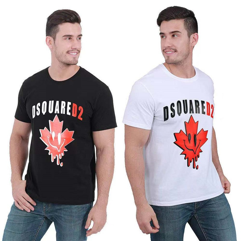 New Dsquared2 street hip-hop round neck short-sleeved T-shirt cotton locomotive letter printing casual men and women D2