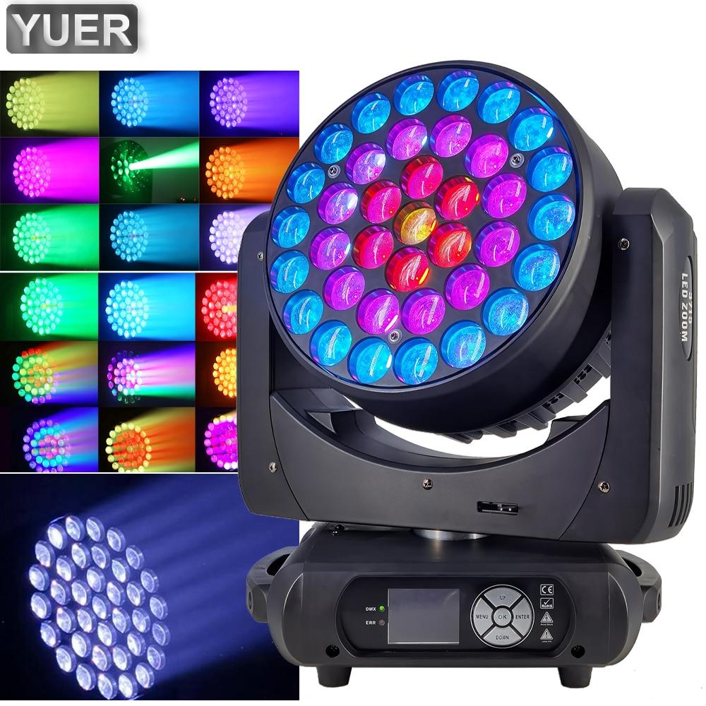 زووم غسيل احترافي LED ، مصباح رأس متحرك 3-50 درجة ، 37x15W ، إضاءة المسرح DMX512 لحفلة ديسكو DJ