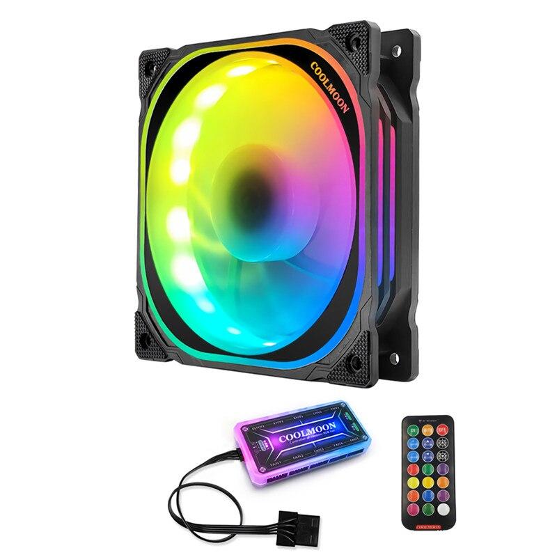 Ventilador RGB 12cm, ventilador de chasis LED Symphony de múltiples capas silencioso para ordenador, colorido, silencioso, ventilador de refrigeración con Control remoto