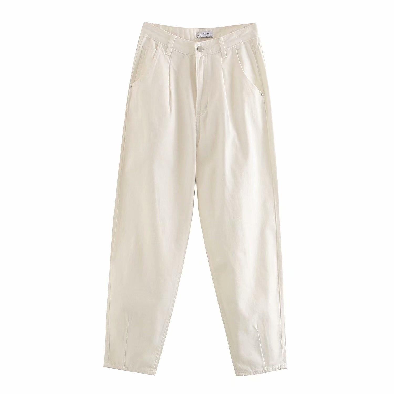 Women Slouchy Harem Pants Boyfriend Casual Pockets Ladies Zipper Bottoms Loose Denim Long Trousers Mom Jeans