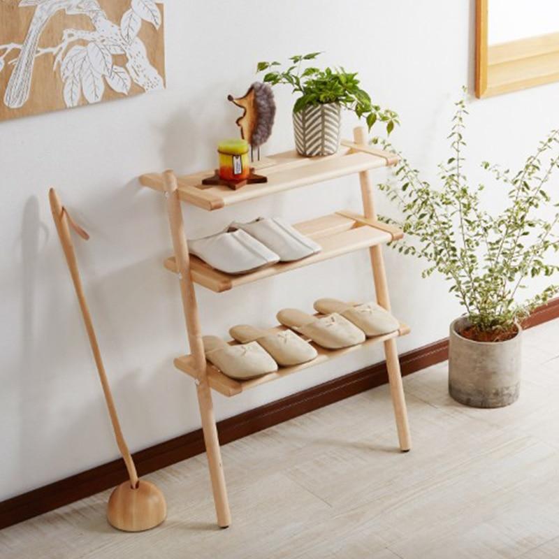 صغير متعدد الطبقات رف الأحذية بسيط خشب متين النمط الياباني المنزلية الرأسي الجرف الشمال Meuble المدخل الأثاث HX50XG