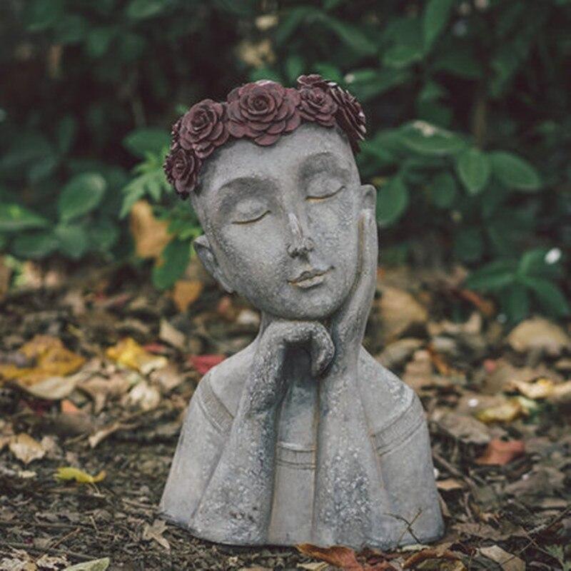 Uranis Laurel Creative Statue Portrait Retro Vase Flower Outdoor Garden Balcony Goddess Flower Pot Decoration M2922