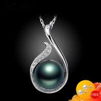 Женское ожерелье из серебра 925 пробы, Ювелирное Украшение с черным жемчугом, подвеска из драгоценных камней с цирконием, аксессуары для свад...
