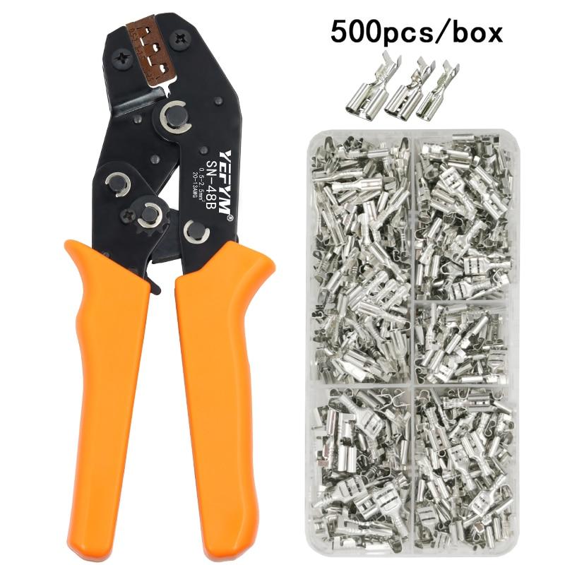 Huzalos krimpelő fogó 0,5-2,5 mm2 20-13AWG precíziós pofa dobozával TAB 2,8 4,8 6,3 sorkapcsok elektromos kéziszerszámok