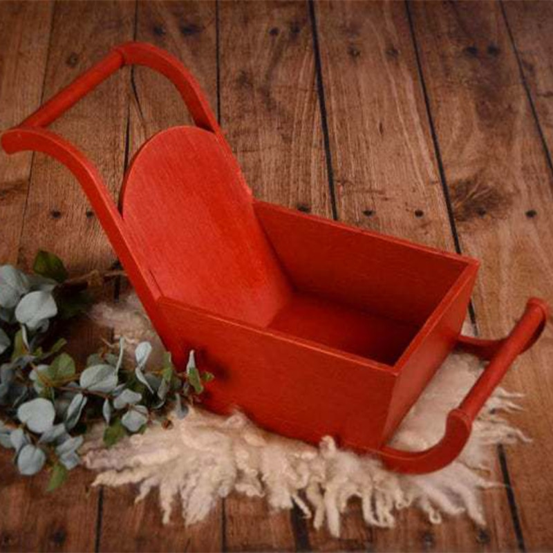 Baby Photography Props Christmas Theme Sleigh Car Red Photo Studio Child Shooting Newborn Fotografie Accessories Wooden Assembly enlarge
