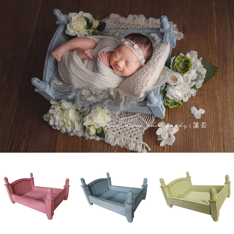 Newborn Photography Props Girl Retro Old Wooden Cot Accessoire Baby Shooting Photo Small Wood Bed for Studio Bebe Photographie