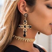 New Arrival Vintage Black Pink Crystal Cross Drop Earrings for Women Baroque Bohemian Labradorite Long Earrings Jewelry Brincos