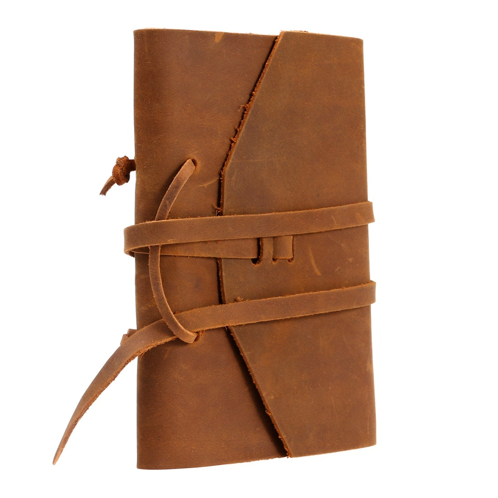 Classic Leather Notebook Antique Diary Journal with Binding Rope for Gift (Brown)