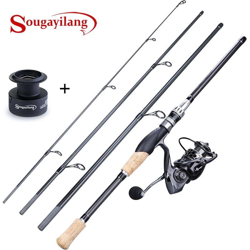 Sougayilang, 4 secciones M, señuelo de acción, Combos de Pesca, señuelo portátil de carbono, caña con 13 + 1BB Spinning Rueda de carrete de Pesca