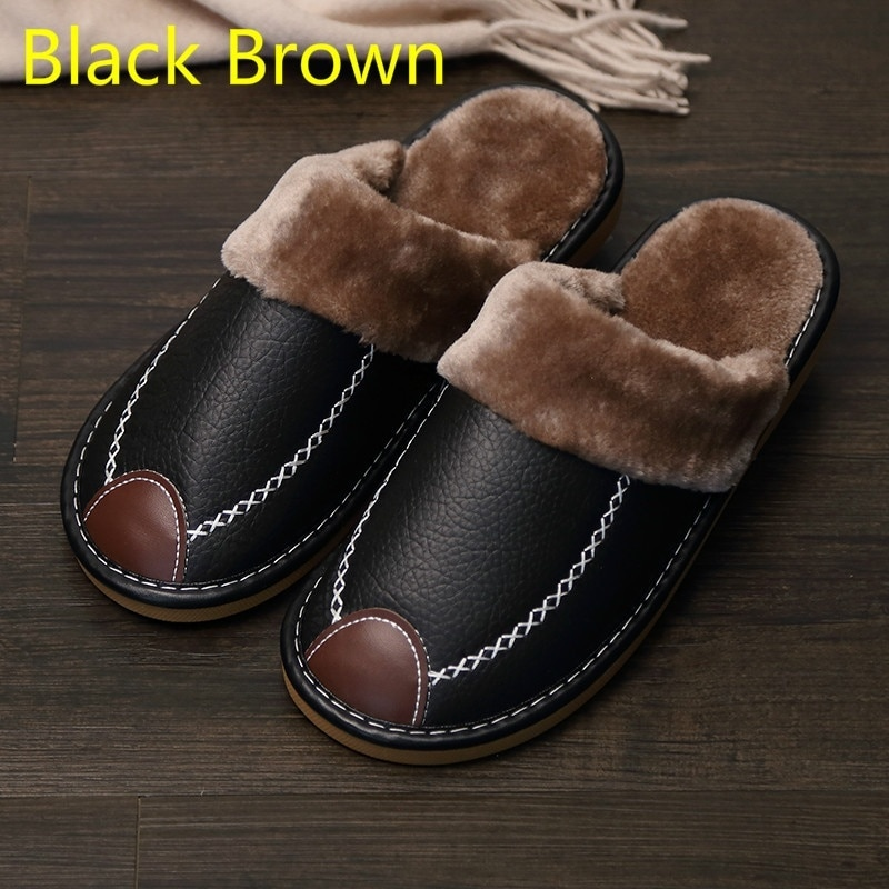 남자 슬리퍼 블랙 새로운 겨울 PU 가죽 슬리퍼 따뜻한 실내 슬리퍼 방수 홈 하우스 신발 여성 따뜻한 가죽 슬리퍼