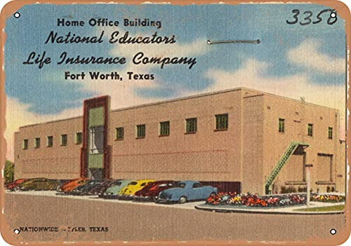 Metal Sign - Texas Postcard - Home Office Building National Educators Life Insurance Company, Fort W - Vintage Rusty Look Wall