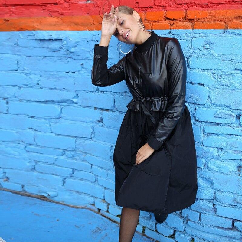 Женское платье трапециевидной формы из искусственной кожи в стиле пэчворк с длинным рукавом и воротником-стойкой, зимнее платье в винтажном стиле, офисное повседневное платье, 2019