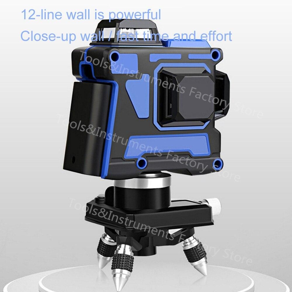 3D 12 линия Osram синий лазерный уровень 360 самонивелирующийся Горизонтальный Вертикальный крест супер мощный лазерный луч USB более высокая видимость