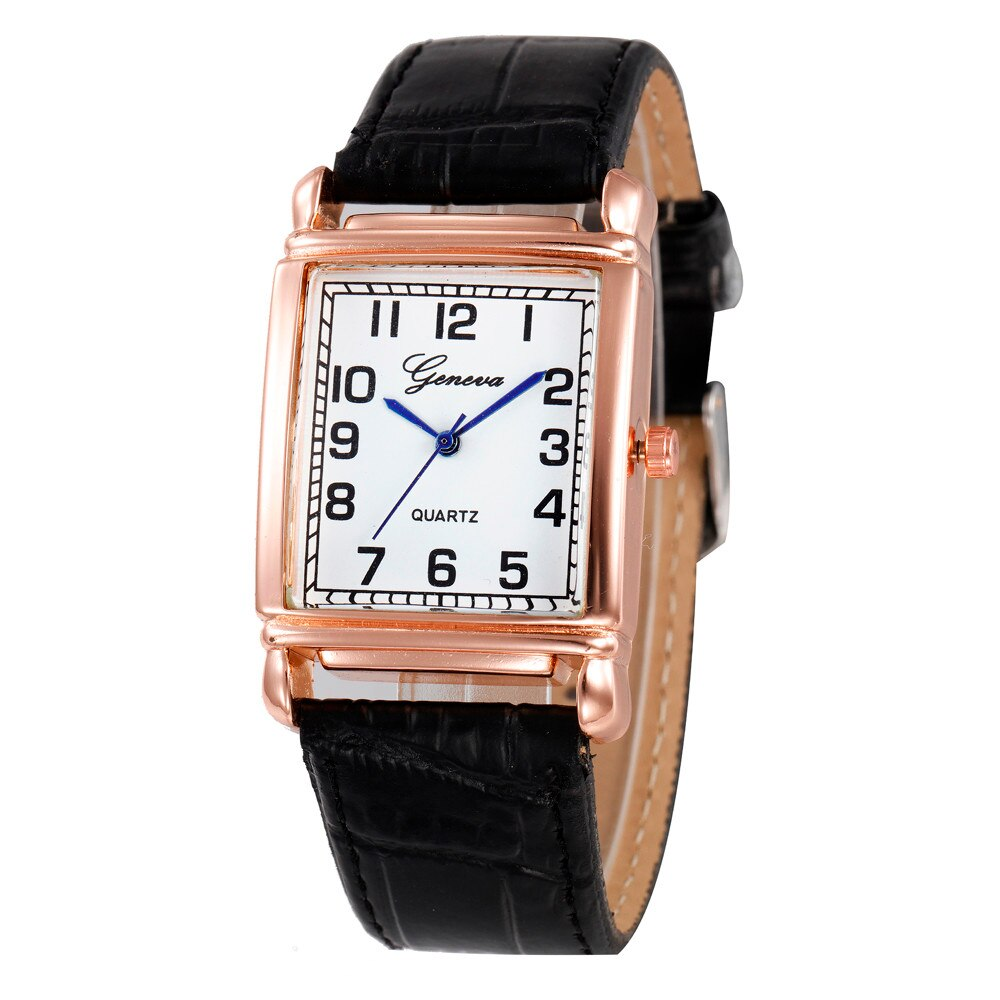 Genève relógio de pulso analógico de quartzo de couro do falso das damas casuais relógio de pulso moda casual relogio feminino
