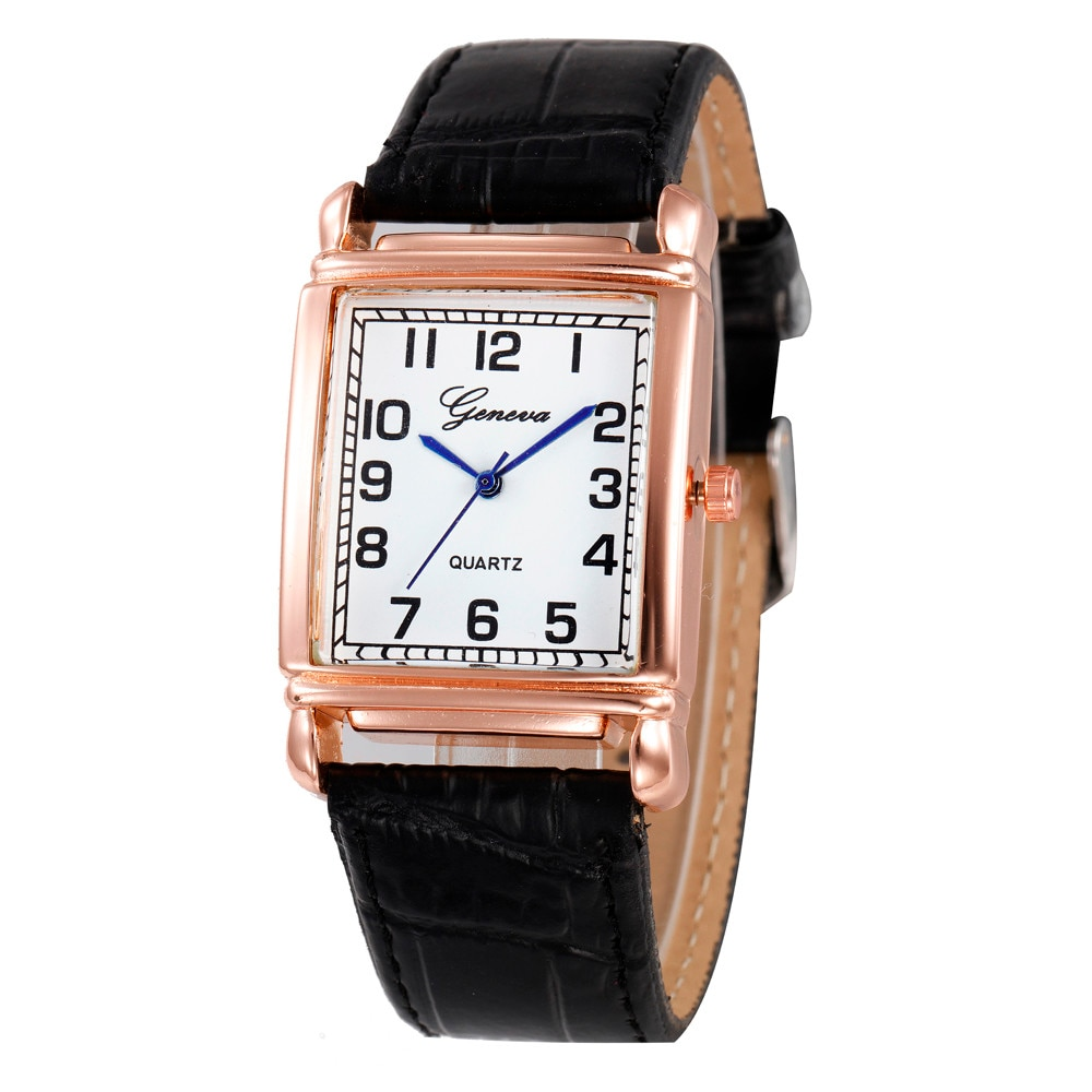 Geneva Womens Belt Watch Casual Checkers Faux Leather Quartz Analog Wrist Watch Wristwatches Fashion Casual Relogio Feminino