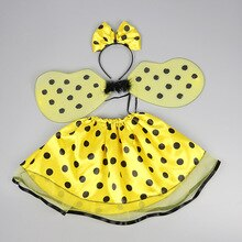 Birthday Halloween Girl's Costume For Kids Child Yellow Polka Dot Skirt Wing Headband Wand Magic Stick Set Cosplay