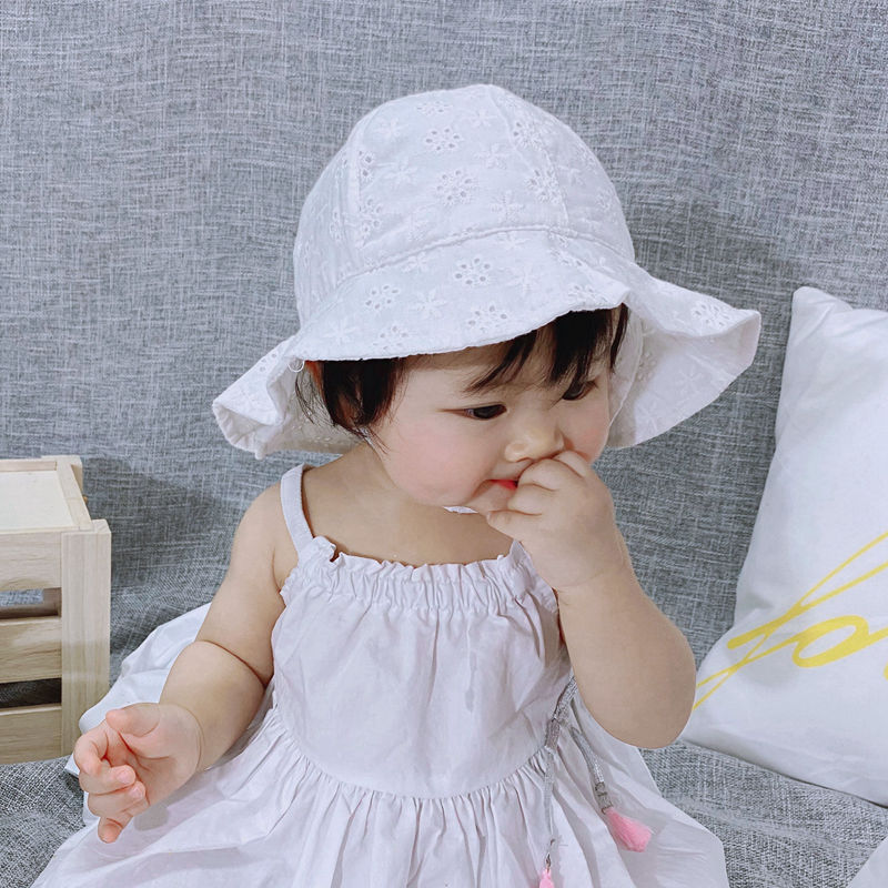 Sombrero de flores para niñas con lazo de encaje de princesa sombreros de playa de pescador para niños pequeños sombreros de sol para niños gorras de viaje H191S